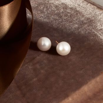 10-11mm Cultured Pearl Stud Earrings in 14kt Yellow Gold, , default