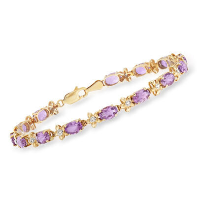 C. 1990 Vintage 6.30 ct. t.w. Amethyst and .12 ct. t.w. Diamond Floral Bracelet in 14kt Yellow Gold, , default