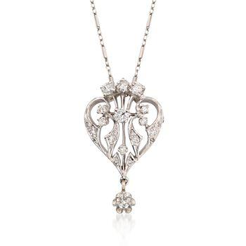 "C. 1990 Vintage 1.25 ct. t.w. Diamond Pin Pendant Necklace in 14kt White Gold. 17"", , default"