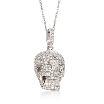 """1.00 ct. t.w. CZ Skull Pendant Necklace in Sterling Silver. 18"""", , default"""