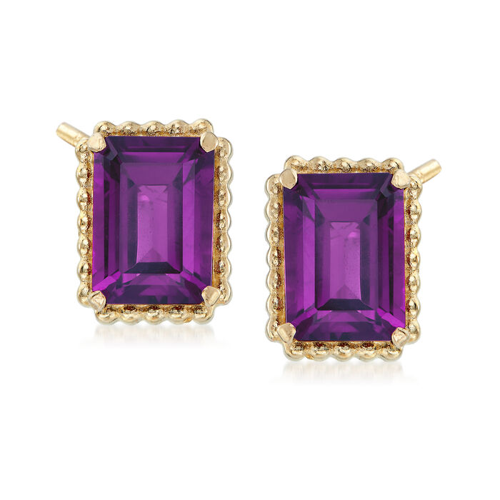 2.90 ct. t.w. Amethyst and 14kt Yellow Gold Beaded Frame Earrings
