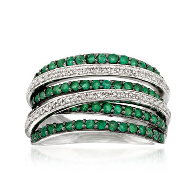 .80 ct. t.w. Emerald and .15 ct. t.w. Diamond Highway Ring in Sterling Silver, , default