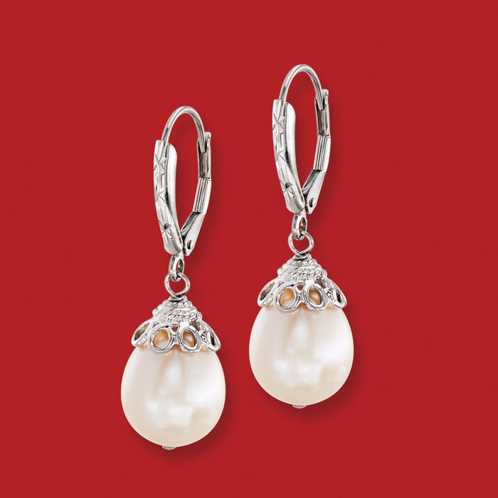 10-11mm Cultured Pearl Drop Earrings in Sterling Silver