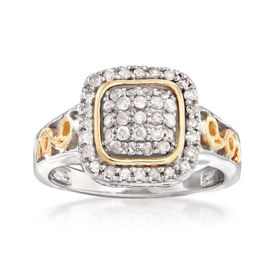 .50 ct. t.w. Diamond Ring in Sterling Silver and 14kt Yellow Gold