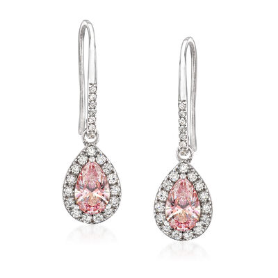 Swarovski Crystal 2.60 ct. t.w. Pink and White CZ Drop Earrings in Sterling Silver, , default