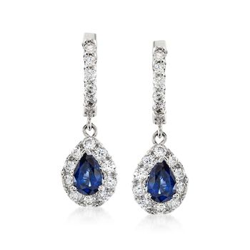 1.00 ct. t.w. Sapphire and .70 ct. t.w. Diamond Drop Earrings in 14kt White Gold, , default