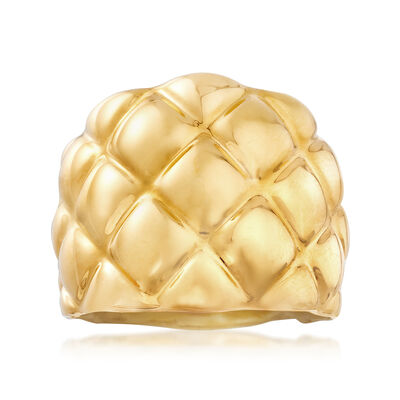 Italian Andiamo 14kt Yellow Gold Checkered Ring, , default