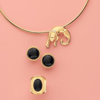 Leopard Slide Pendant Omega Necklace in 18kt Gold Over Sterling