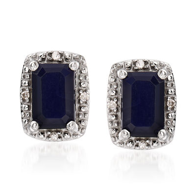 1.30 ct. t.w. Sapphire Stud Earrings with Diamond Accents in Sterling Silver, , default