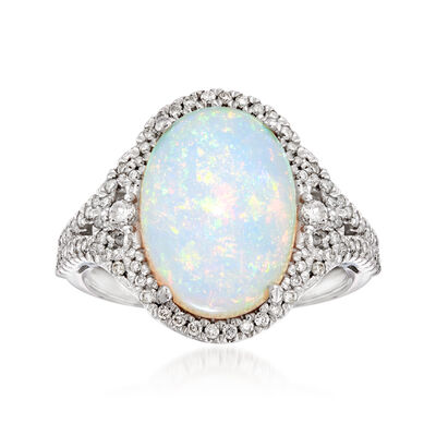 Opal and .48 ct. t.w. Diamond Ring in 14kt White Gold