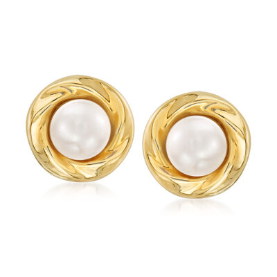 6mm Cultured Pearl Earrings in 14kt Yellow Gold