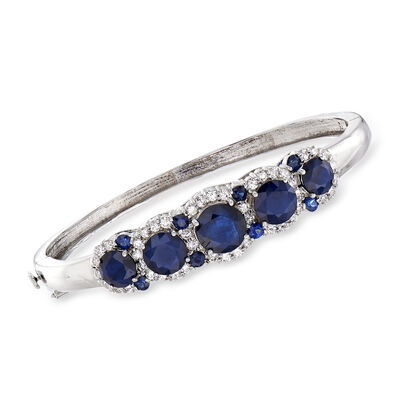C. 1990 Vintage 9.30 ct. t.w. Sapphire and 1.85 ct. t.w. Diamond Bangle Bracelet in 14kt White Gold