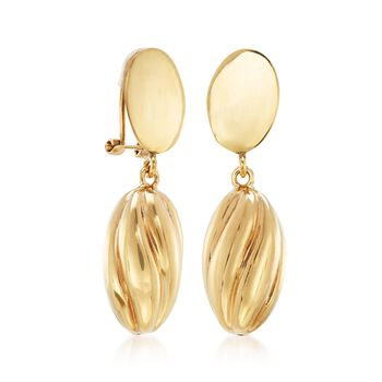 Italian 14kt Yellow Gold Ribbed Oval Drop Clip-On Earrings , , default