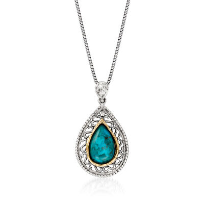 Green Turquoise Pendant Necklace in Sterling Silver and 14kt Yellow Gold