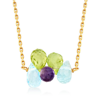 Italian 3.00 ct. t.w. Multi-Gemstone Necklace in 14kt Yellow Gold, , default