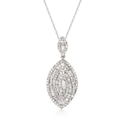 .89 ct. t.w. Baguette and Round Diamond Marquise Pendant Necklace in 14kt White Gold, , default
