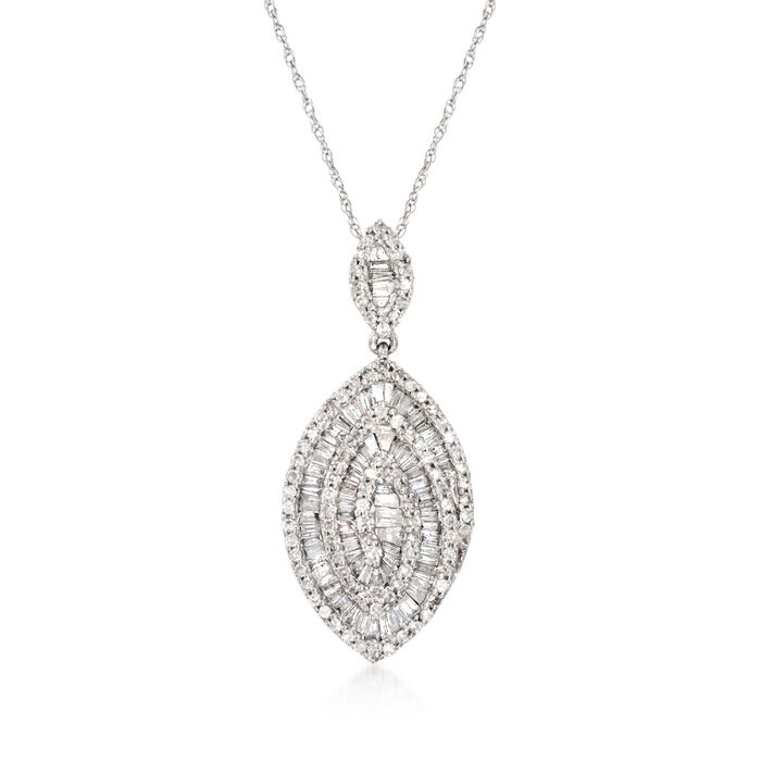 ".89 ct. t.w. Baguette and Round Diamond Marquise Pendant Necklace in 14kt White Gold. 18"", , default"