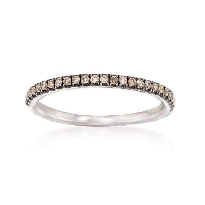 Henri Daussi .15 ct. t.w. Brown Diamond Wedding Ring in 14kt White Gold