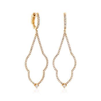 C. 2000 Vintage 1.35 ct. t.w. Diamond Drop Earrings in 14kt Yellow Gold, , default