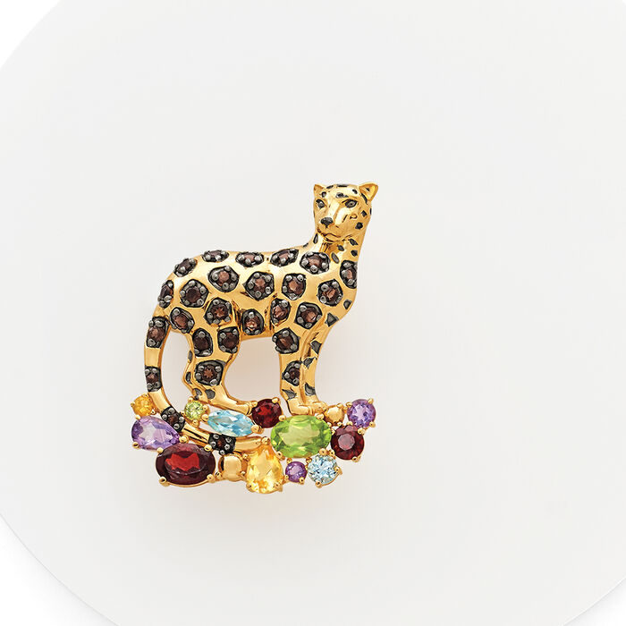 3.80 ct. t.w. Multi-Stone Panther Pin Pendant in 18kt Gold Over Sterling