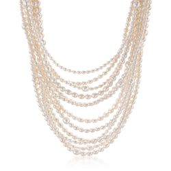 "4-9mm Cultured Pearl Multi-Strand Necklace With Sterling Silver. 18"", , default"