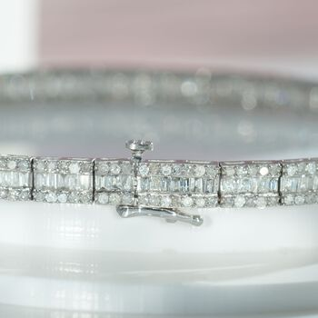 3.00 ct. t.w. Baguette and Round Diamond Tennis Bracelet in 14kt White Gold, , default