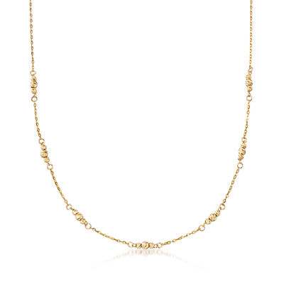 Italian 3-4mm Bead Station Necklace in 14kt Yellow Gold, , default