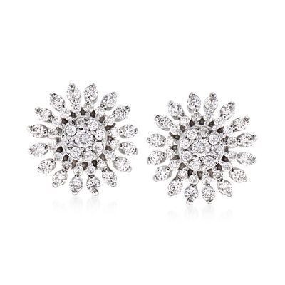 Roberto Coin .85 ct. t.w. Diamond Sunburst Earrings in 18kt White Gold