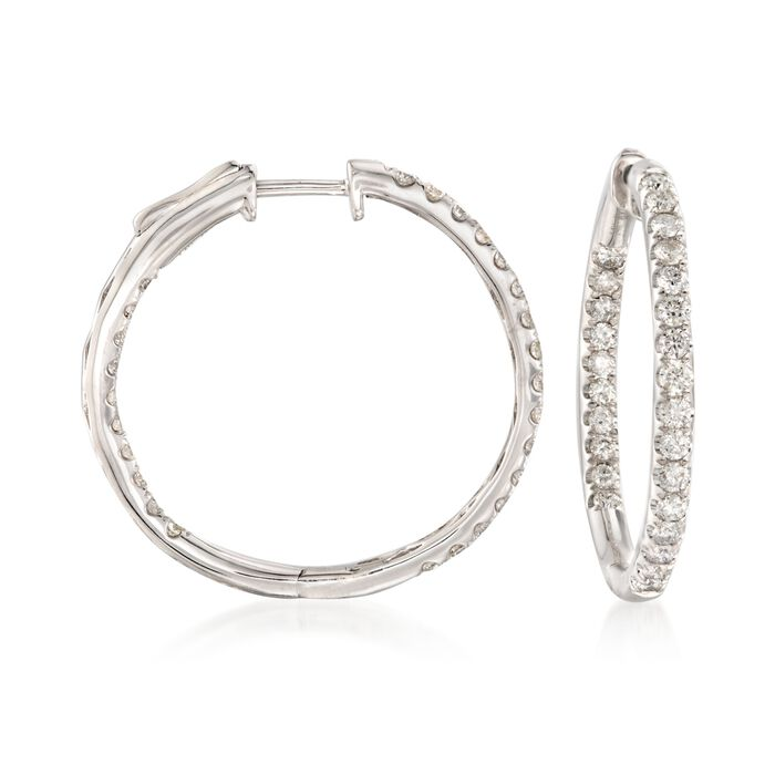 "1.50 ct. t.w. Diamond Inside-Outside Hoop Earrings in 14kt White Gold. 1 1/8"", , default"