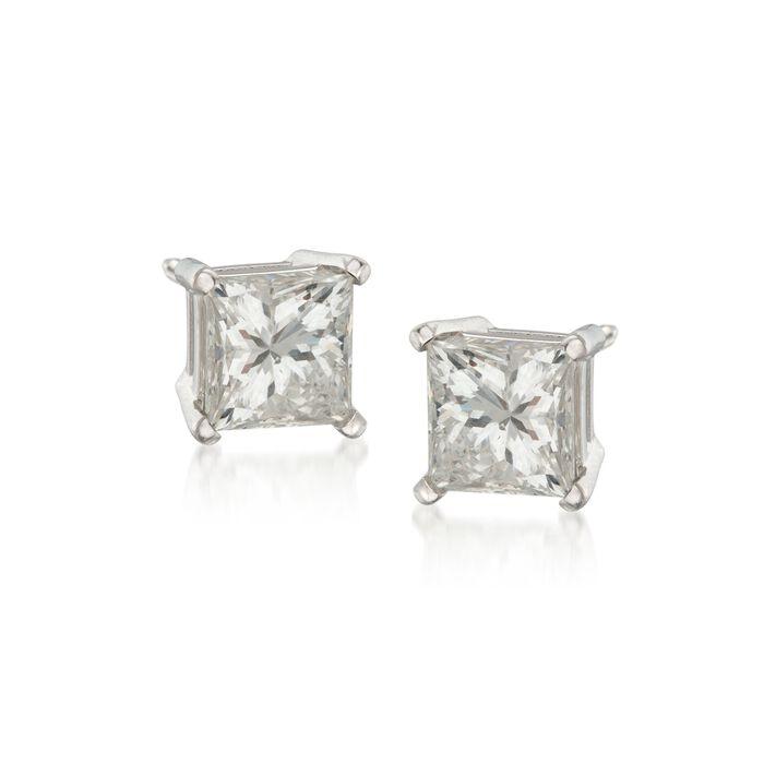 2.00 ct. t.w. Princess-Cut Diamond Stud Earrings in 14kt White Gold, , default