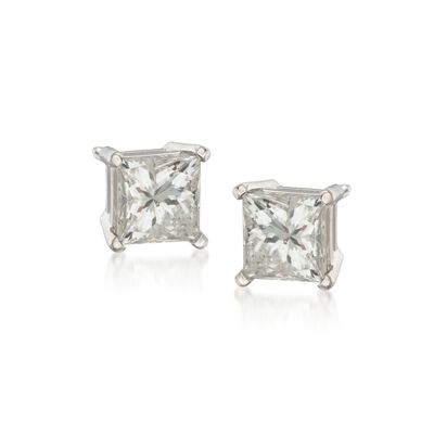 1.50 ct. t.w. Princess-Cut Diamond Stud Earrings in 14kt White Gold, , default