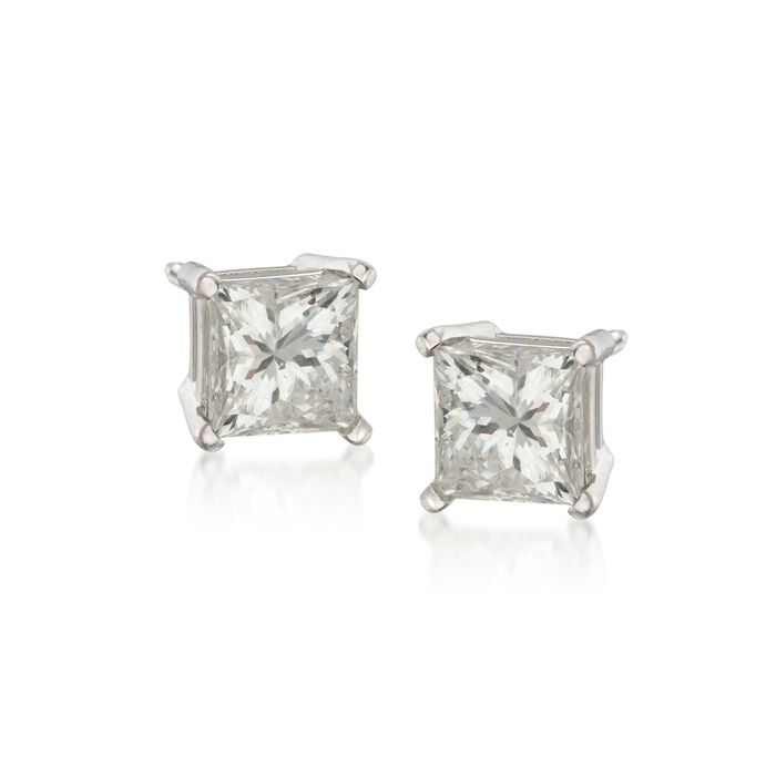 1.50 ct. t.w. Princess-Cut Diamond Stud Earrings in 14kt White Gold, , default