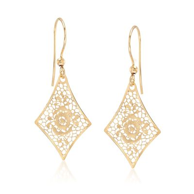 Italian 18kt Yellow Gold Floral Openwork Kite-Shaped Drop Earrings, , default