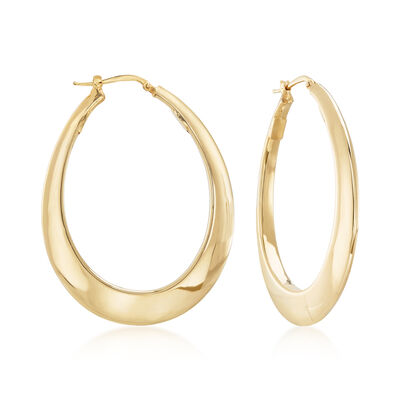 Italian 18kt Yellow Gold Tapered Hoop Earrings, , default