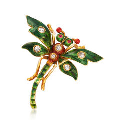 C. 1950 Vintage .20 ct. t.w. Diamond Dragonfly Pin With Ruby Accents and Green Enamel  , , default