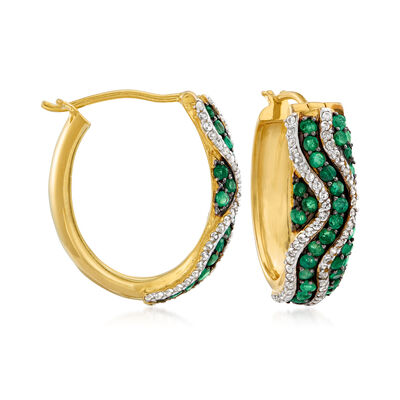 1.30 ct. t.w. Emerald and .80 ct. t.w. White Zircon Hoop Earrings in 18kt Gold Over Sterling