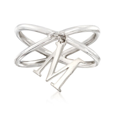 Sterling Silver Initial Charm Crisscross Ring, , default