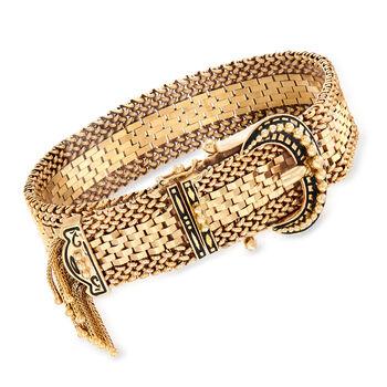 """C. 1950 Vintage 14kt Yellow Gold Fringe Buckle Bracelet With Enamel. 7.5"""", , default"""