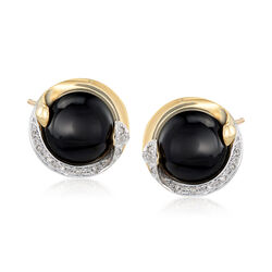 12mm Black Onyx Drop Earrings in 14kt Yellow Gold With Diamond Accents, , default
