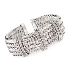 "Charles Garnier ""Glamour"" Italian .60 ct. t.w. CZ Cuff Bracelet in Sterling Silver. 7"", , default"