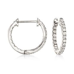 ".20 ct. t.w. Diamond Inside-Outside Huggie Hoop Earrings in 14kt White Gold. 3/8"", , default"