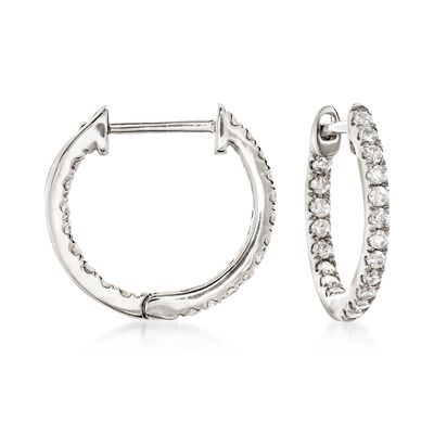 .20 ct. t.w. Diamond Inside-Outside Huggie Hoop Earrings in 14kt White Gold, , default