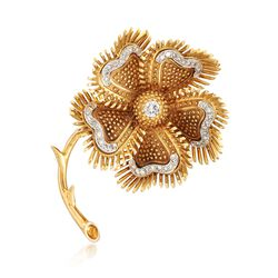 C. 1980 Vintage 1.00 ct. t.w. Diamond Floral Pin in 18kt Yellow Gold, , default