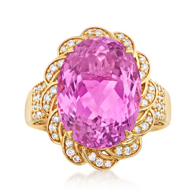 17.00 Carat Kunzite and .57 ct. t.w. Diamond Ring in 18kt Yellow Gold