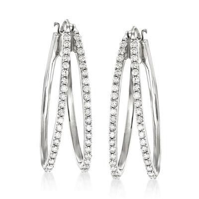 1.00 ct. t.w. Diamond Double-Hoop Earrings in 14kt White Gold