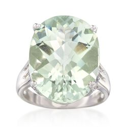 14.00 Carat Green Prasiolite Ring in Sterling Silver, , default
