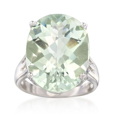 14.00 Carat Green Prasiolite Ring in Sterling Silver, , default
