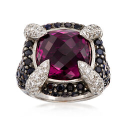 C. 2000 Vintage 13.10 Carat Pink Rhodolite and 1.70 ct. t.w. Sapphire Ring With 1.00 ct. t.w. Diamonds in 18kt White Gold. Size 5, , default