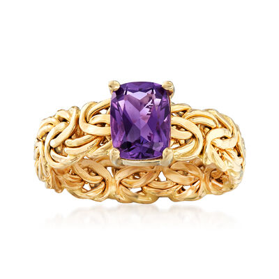 1.10 Carat Amethyst Byzantine Ring in 14kt Yellow Gold, , default