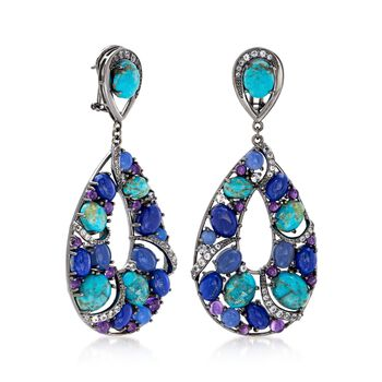 Turquoise and Lapis Drop Earrings with 5.00 ct. t.w. Multi-Stones in Sterling Silver , , default